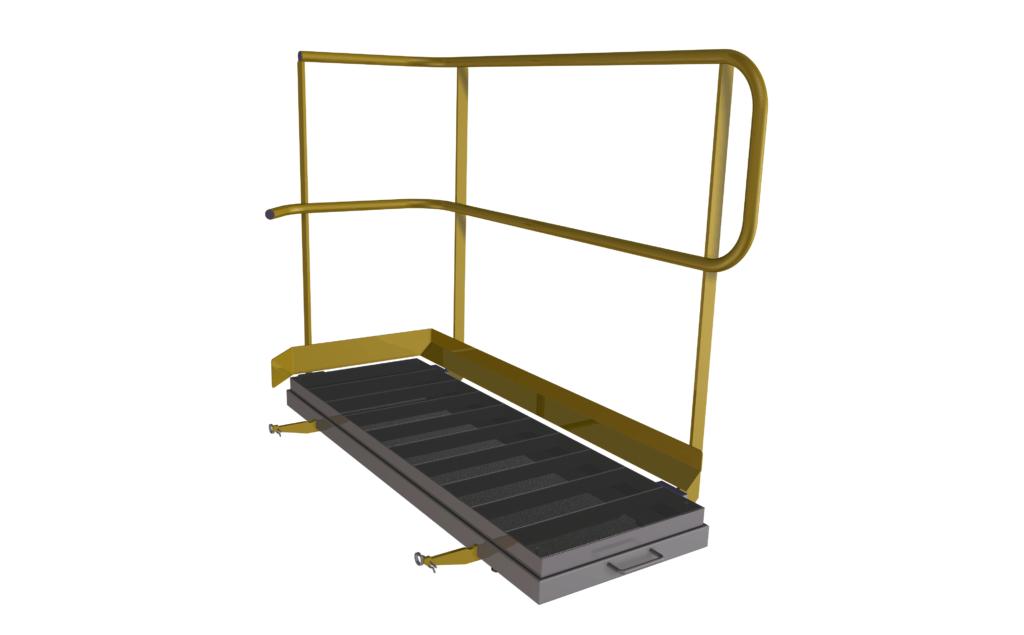 Demontabel verbredingsframe voor extra werkruimte rondom de stortbak van de Dino bulkwagenvuller