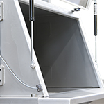 Filling cabinet for safe loading and dust-free work place