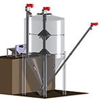 Vertical silo mixer creates mass flows within mixing silo